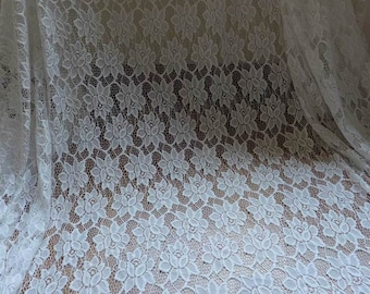 Off white Lace Fabric, Gorgeous Wedding Lace Fabric,  Bridal Lace with Roses, Chantilly Lace, One Yard