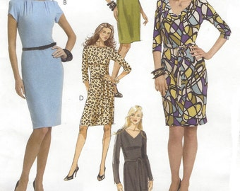 Womens Knit Dress with Neckline & Sleeve Variations OOP McCalls Sewing Pattern M5975 Size 16 18 20 22 24 Bust 38 to 46 UnCut