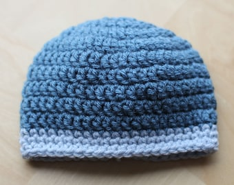 Ready to ship handmade baby crochet hat boy blue 0-3 months new born
