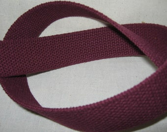 Maroon Cotton Webbing For Handbags Totes Key Fob Wristlets Belting Strap