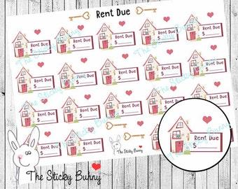 Rent Due - Planner Stickers for Erin Condren, Happy Planner, Kikkik, Filofax (S045)