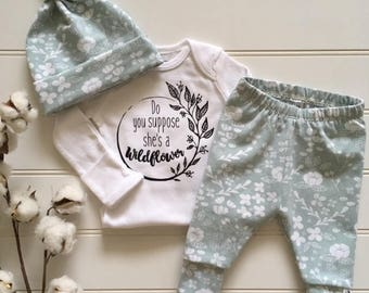 NEW FOR FALL! Minty Wildflower/Organic/Newborn Outfit/Toddler leggings