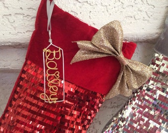 Personalized Christmas stocking name tagChristmas decor, Holiday decor, Name Stocking tag