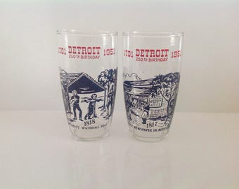Detroit Birthday Glasses, VIntage Detroit Michigan Glasses, Detroit Anniversary Glasses, Detroit Water Glasses - Set of 2