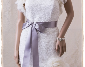 "2"" French Deluxe Silver Bridal Sash Silver Wedding Sash Belt, Silver Ribbon Bridal Belt, Wedding Sash, Silver Bridal Sash"