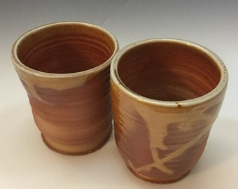 Brown Cup Set - Ceramic Barware - Old Fashioned Cup - Lowball - Rocks Cup - Wine Cup - Wood Fired - Handmade Pottery
