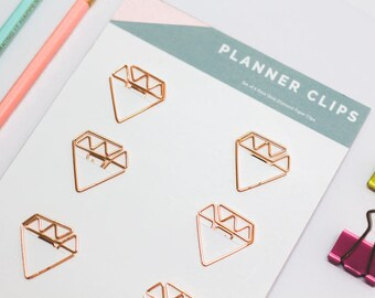 Diamond Paper Clips | Rose Gold Planner Office Supply | Girl Boss Planner Clips | Rose Gold Paper Clips | Planner Clips | Diamond Shaped
