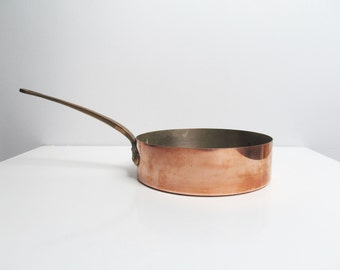 Vintage copper and brass cooking pan, deep skillet, professional cooking, kitchen decoration, Metaux Ouvres Vesoul Art Cuisine France French