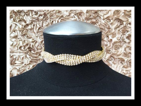 Gold Twisted Rhinestone Choker #C102