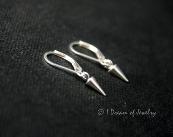 Tiny sterling silver earrings- spike, leverback or french wire