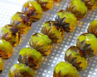 Honey Yellow Czech Fire Polished Cruellers Opaque/Transparent Mix 7x10mm - Authentic Czech Fire Polished Beads - 18 Beads Per Strand CB57