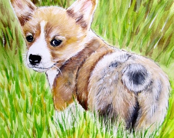 Corgi Print, Pembroke Welsh Corgi Art, Corgi Painting, Corgi Giclee Print, Corgi Watercolor Print, Corgi Wall Art, Corgi Home Decor