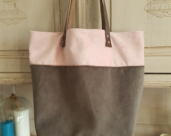 LILY tote bag, leather & fabric, unique piece
