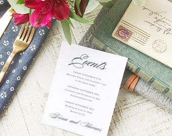 Wedding Agenda Card, Printable Wedding Timeline Letter, Events Card, Lucky Script, Itinerary, Agenda, Hotel Card - INSTANT DOWNLOAD