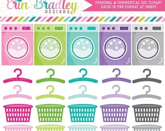 80% OFF SALE Laundry Clipart Graphics Chores Clip Art Washing Machines Hangers Laundry Baskets Personal & Commercial Use