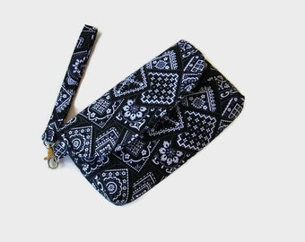 Black Fabric Wristlet - Cushioned Phone Pouch - Small Black Handbag - Fabric Wristlet - Removable Strap - Black Clutch