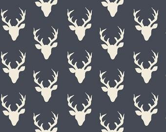 One Yard Hello Bear, Tiny Buck Forest Twilight, Bonnie Christine for Art Gallery Fabrics, Tiny Navy Deer Fabric