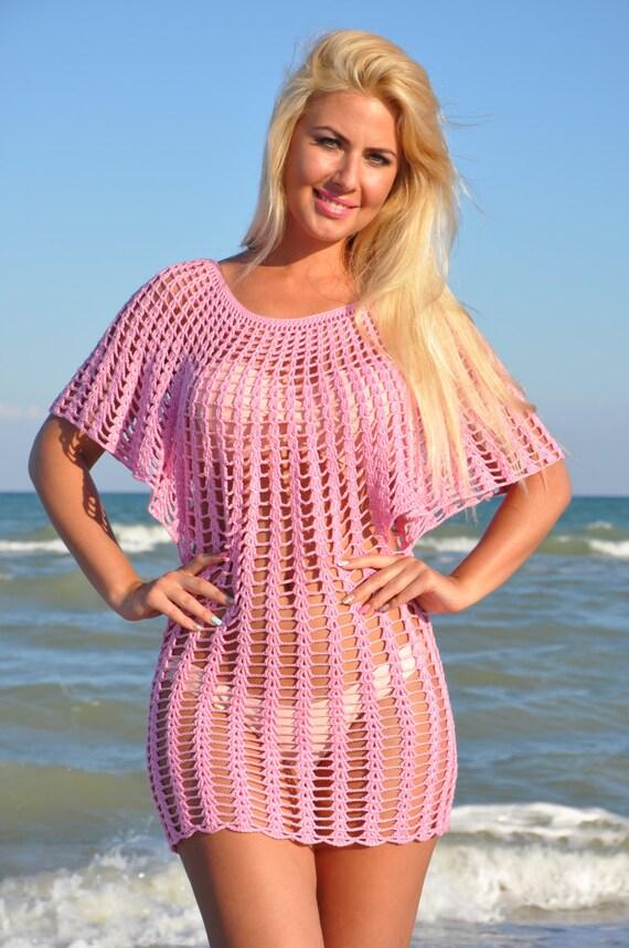 Top de rejilla Crochet Vestido de playa Crochet cubierta para