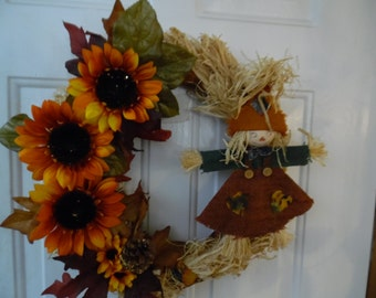 Fall Wreath Raffia and Burlap with Girl Scarecrow