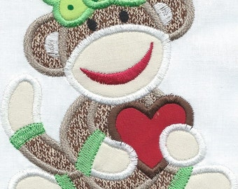Girl Sock Monkey Holding Her Heart Patch Iron on or quilt block