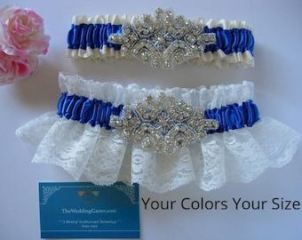 Rhinestone Wedding Garter Set, Vintage Wedding Garters, Wedding Garters, Satin Garters, Lace Garters, Bridal Garters, EMBROIDERY ADDITIONAL