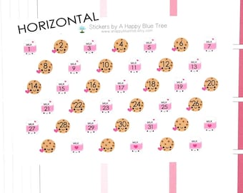Happy Cookies and Milk Date Dots Covers for Horizontal Erin Condren Life Planner ECLP Kawaii Cute Funny Mambi Create365 Dairy Chocolate Chip