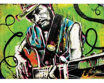 Merle Haggard - Okie from Muskogee - 18 x 12 High Quality Pop Art Print