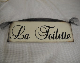 La Toilette or Powder Room Paris Bathroom Sign Choose OPtion french decor powder room Black and White hand stenciled Wooden Wall Art