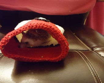 Red and white pouch for hedgehog