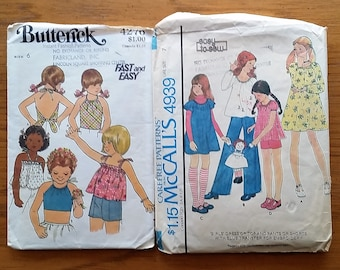 1970 Vintage Patterns for Girls' Size 6 and 7 - Butterick 4276 and McCall's 4939