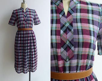 Vintage 80's Purple Madras Plaid Mandarin Collar Dress XS or S