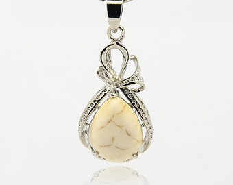 White Howlite Teardrop Pendant - Sold Individually