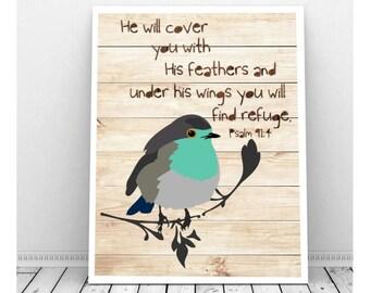 Scripture Art, Scripture Download, Psalm 91:4, Printable Scripture Art, Scripture Art Print, Nursery Scripture Art, Bird Art, Bird Artwork