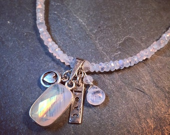 Moonstone charm necklace, multi charm necklace, moonstone jewelry, choker necklace, gemstone necklace