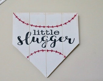 Little Slugger Home Plate Sign, Baseball Home Plate, Sports Sign, Door Hanger, Nursery Decor