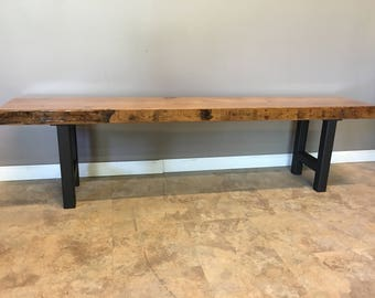 Modern Bench Made From Reclaimed Barn Wood |With Our Custom H Leg Base |  Choose
