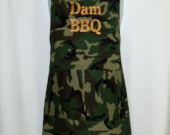 Camouflage Camo Apron Men, BBQ Competition Cooking Hubby, Boyfriend, Boss, Grandpa Custom Personalize With Name, Ships TODAY AGFT 1129
