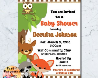 Printable Woodland Creatures Baby Shower invitation