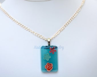 Pastel Flowers Pendant Necklace