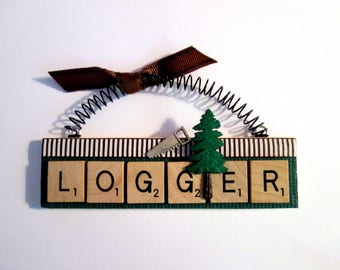 Logger Scrabble Tile Ornament