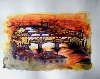 "Large Italian Lanscape Scenic of Italy Tuscan Art Original Watercolor ""Old bridge of Florence ""Made in  Italy    Italian Landscape & Scenic"
