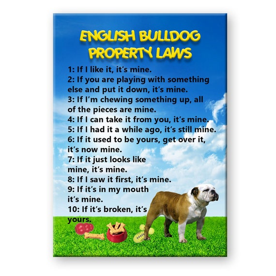 English Bulldog Property Laws Fridge Magnet No 2
