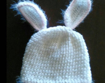 Soft White Bunny ears Hat with fuzzy pink trim 3-6 months size