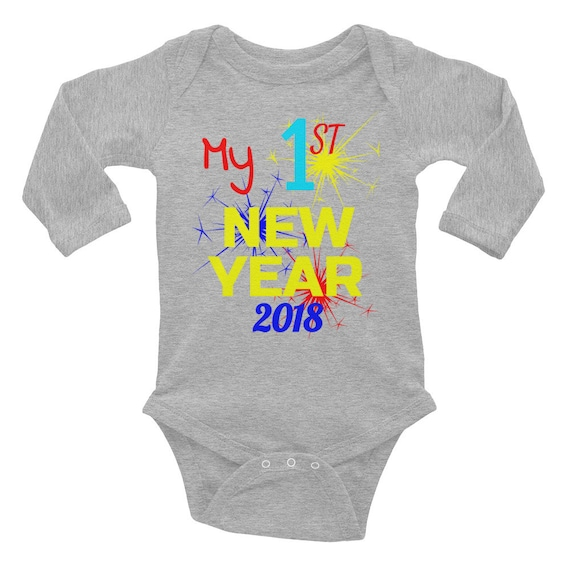 My First 1st New Year 2018 Baby New Year Onesie Overall Infant Long Sleeve First Year Bodysuit