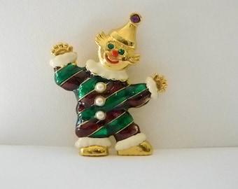 Cute Gold Green Red Enamel Clown Pin Brooch
