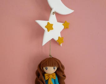 Doll with stars and the moon to hang!