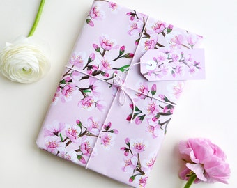 Set gift wrapping paper & tags blossoms // 3 sheets and 3 tags