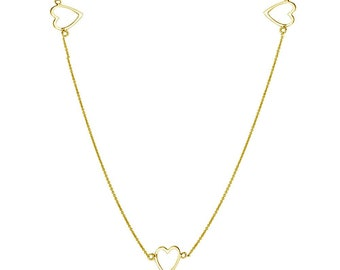 Sterling Silver Gold Plated 5 Open Heart Necklace -