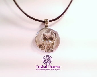 little silver owl with moon pendant