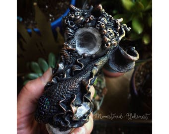 Sculpted Mermaid Pipe w/ Quartz Crystal, Real Starfish, seahorse, and coral over heady glass // Electroformed Pipe // Smokable Art